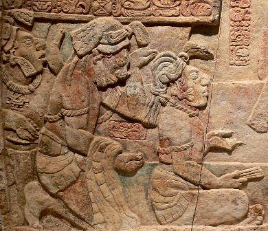 Relief prezentujący jeńców władcy majańskiemu. Późny okres klasyczny (600-900 n.e.)