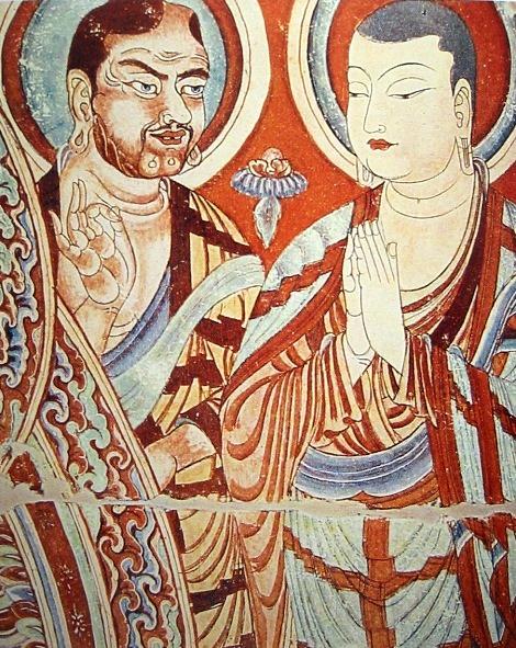 Fresk z grot Bezeklik w pobliżu Turfanu, datowany na IX w. Creative Commons (domena publiczna)