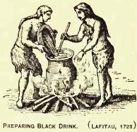 Przygotowywanie ciemnego napoju. Grawerunek autorstwa Josepha-François Lafitau (1723r.)