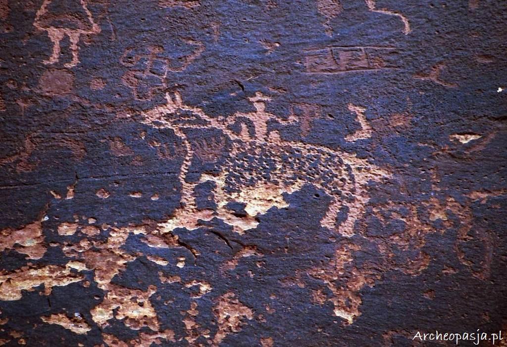 Petroglify Navajo z Sand Island w Utah