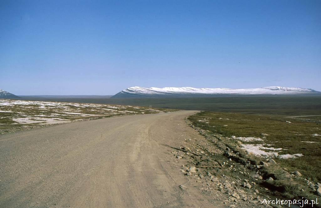 Po przekroczeniu bariery Gór Brooksa krajobraz staje się coraz bardziej płaski, zamieniając się w tundrę